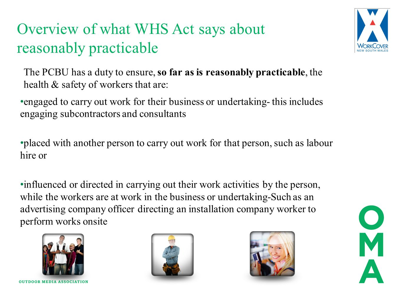 Overview of what WHS Act says about reasonably practicable