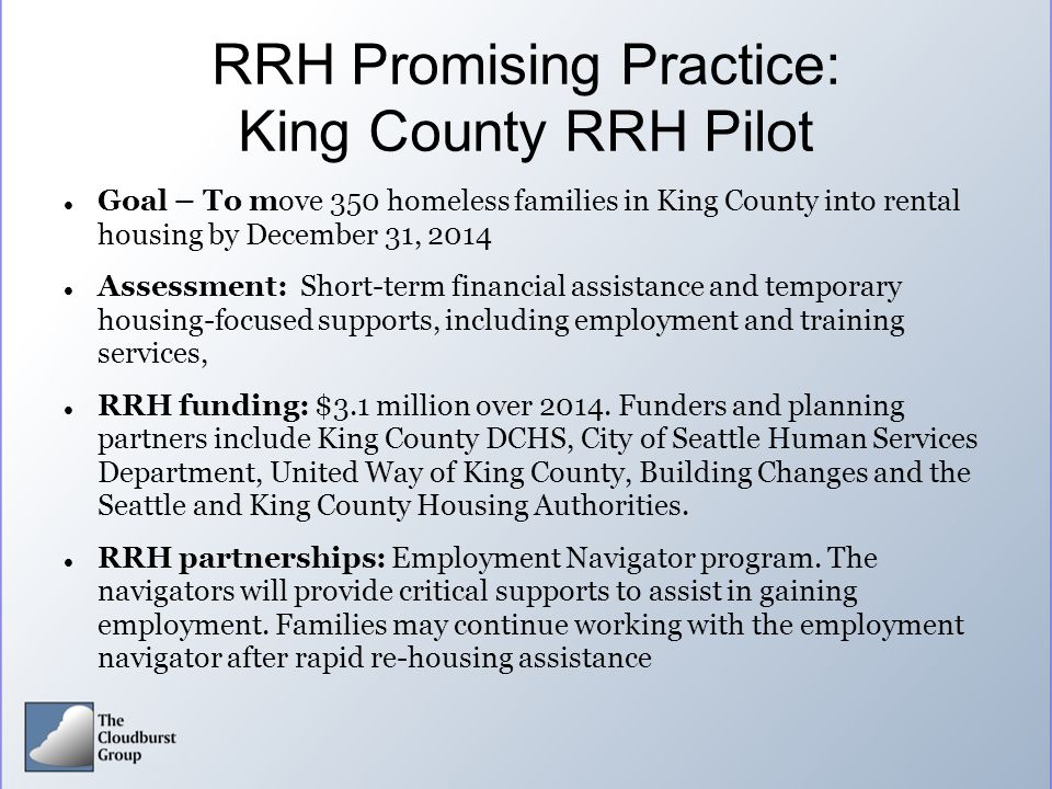 RRH Promising Practice: King County RRH Pilot