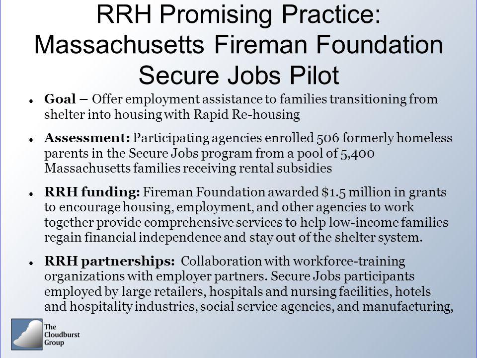 RRH Promising Practice: Massachusetts Fireman Foundation Secure Jobs Pilot