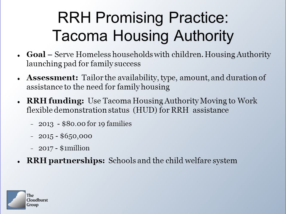 RRH Promising Practice: Tacoma Housing Authority