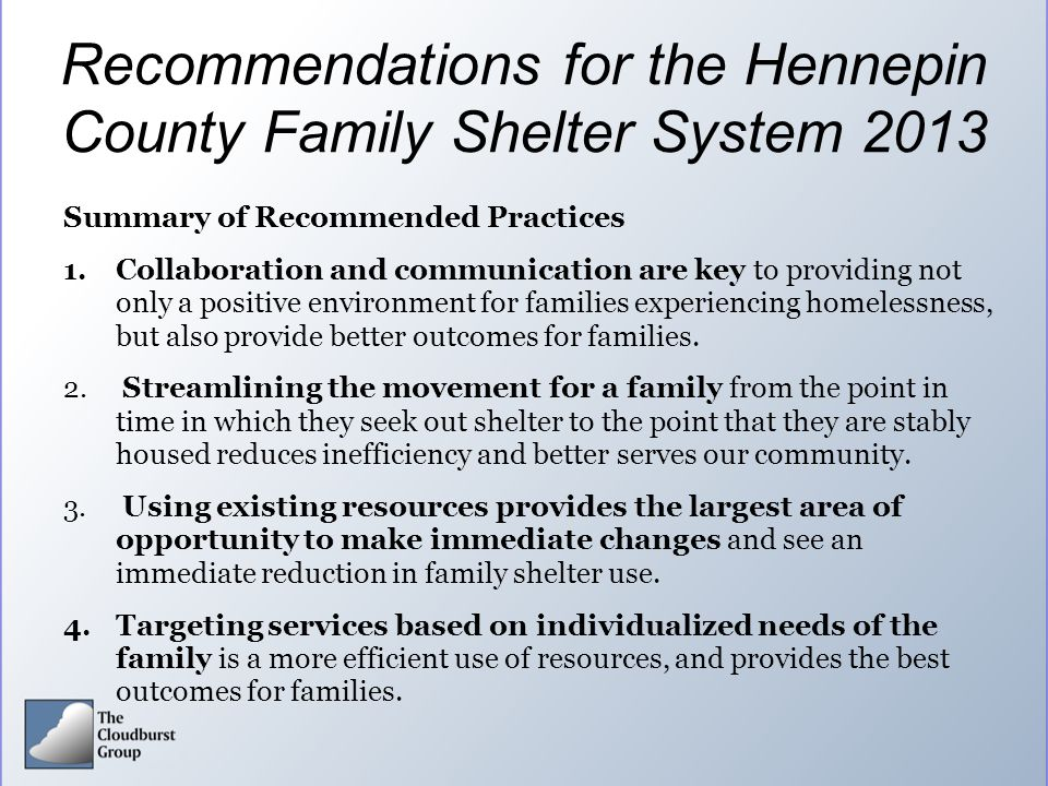 Recommendations for the Hennepin County Family Shelter System 2013