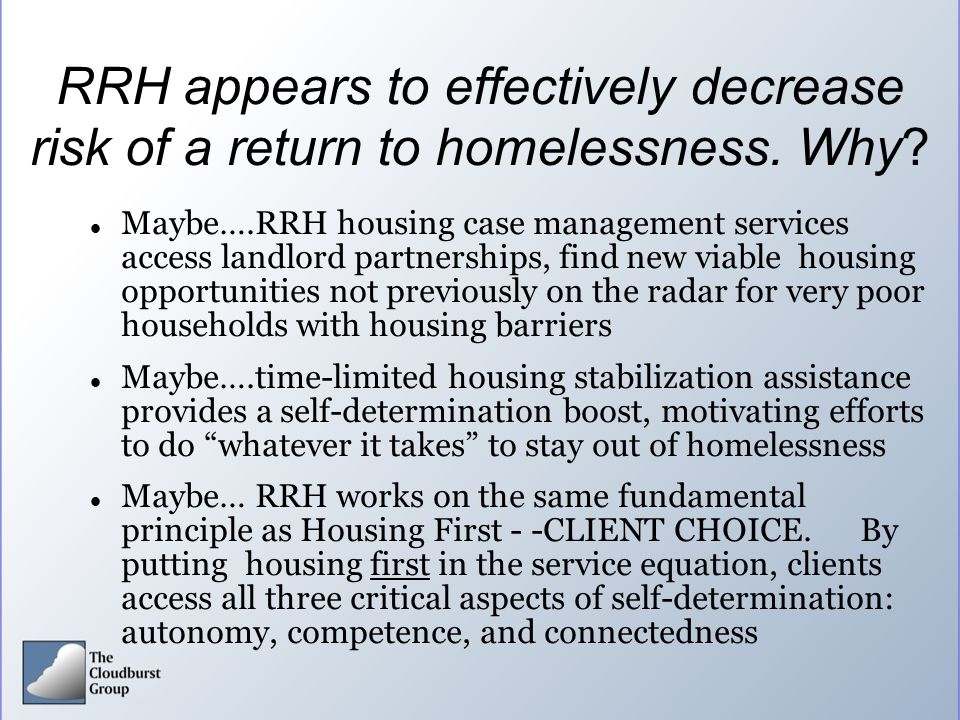 RRH appears to effectively decrease risk of a return to homelessness