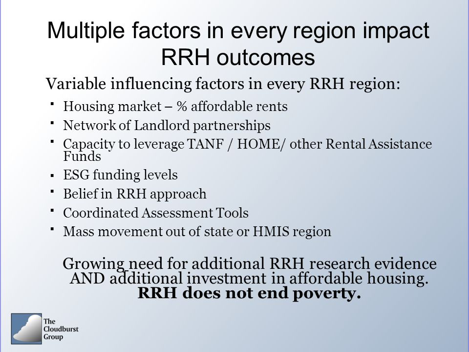 Multiple factors in every region impact RRH outcomes