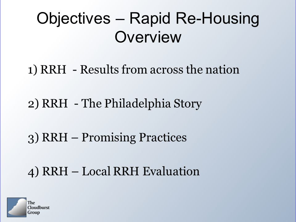 Objectives – Rapid Re-Housing Overview