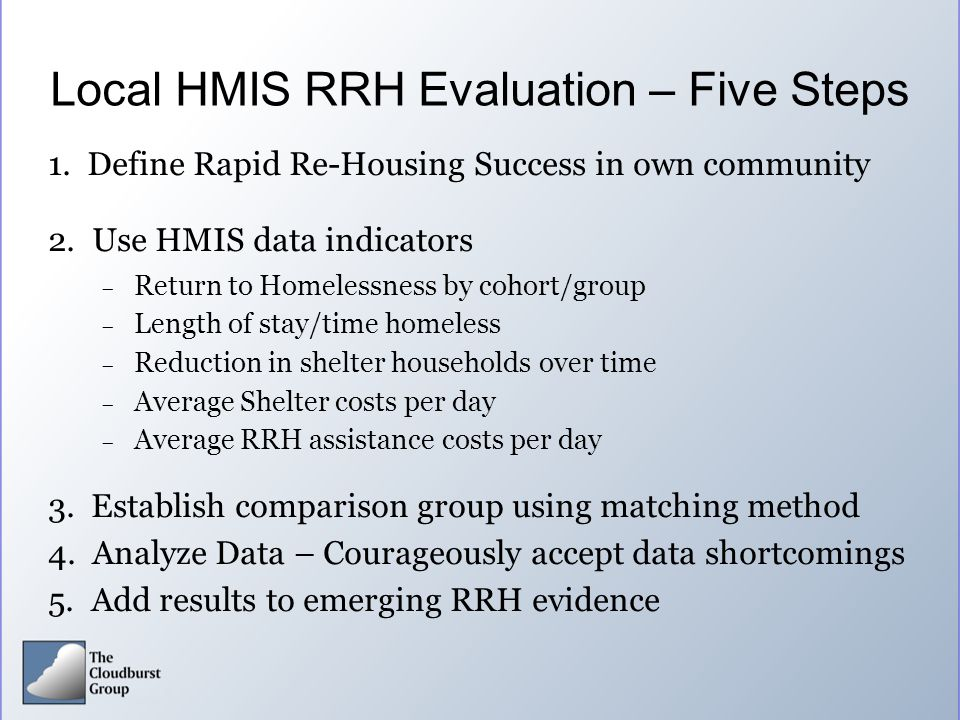 Local HMIS RRH Evaluation – Five Steps
