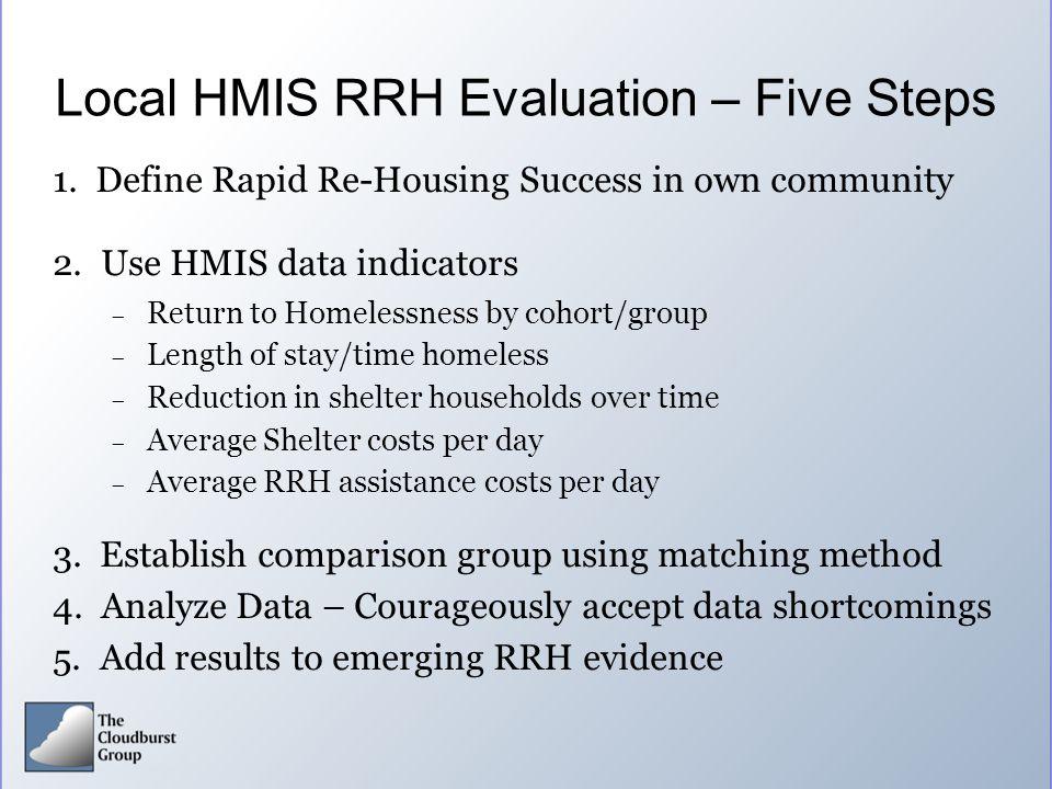 Local HMIS RRH Evaluation – Five Steps