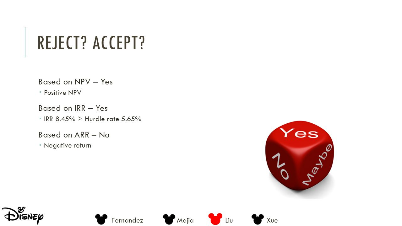 Reject Accept Based on NPV – Yes Based on IRR – Yes