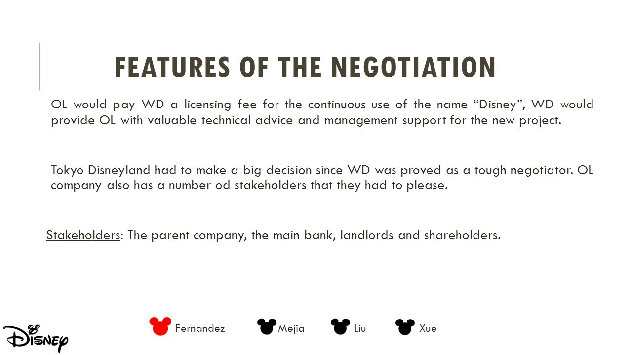 Features of the Negotiation