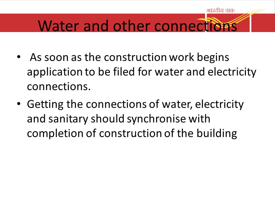 Water and other connections