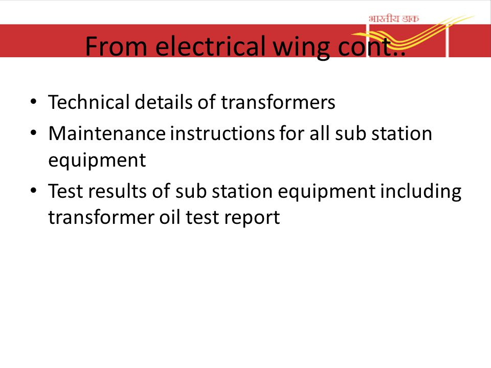 From electrical wing cont..