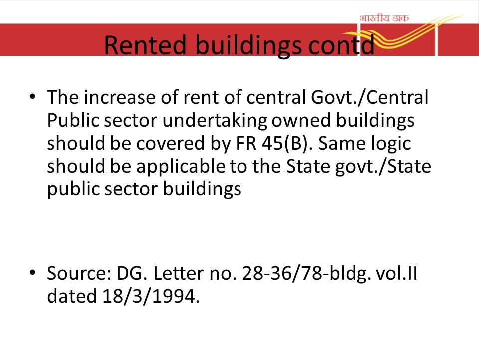 Rented buildings contd