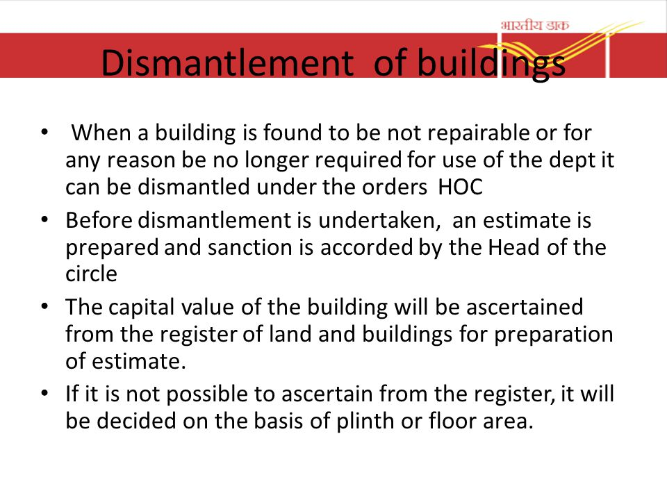 Dismantlement of buildings