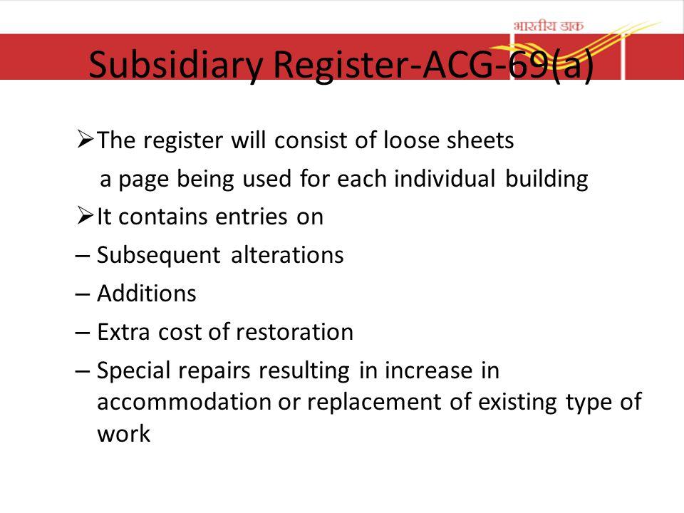 Subsidiary Register-ACG-69(a)