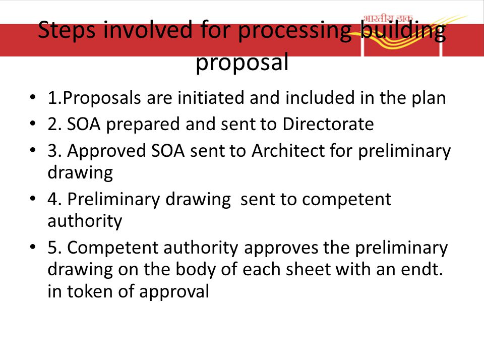 Steps involved for processing building proposal
