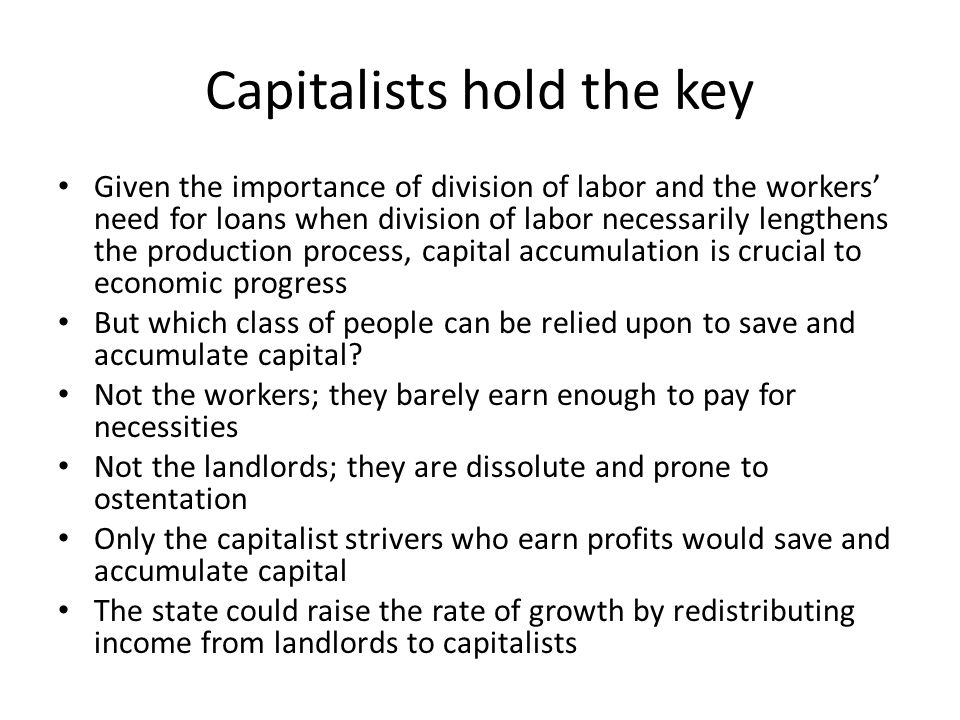 Capitalists hold the key