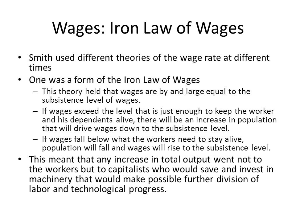 Wages: Iron Law of Wages
