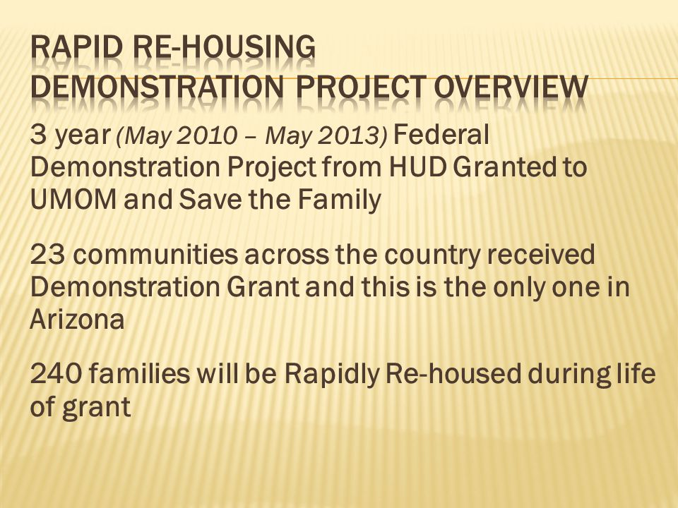 Rapid Re-Housing Demonstration Project Overview