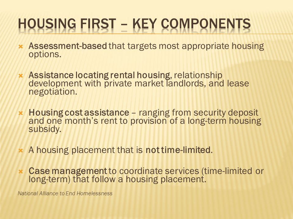 Housing First – Key Components
