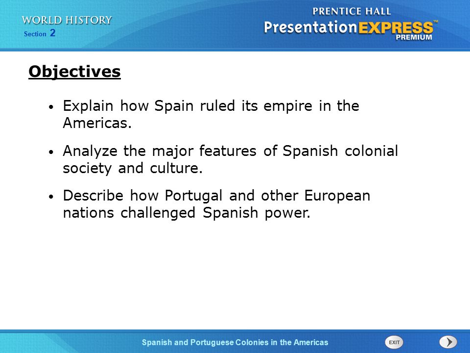 Objectives Explain how Spain ruled its empire in the Americas.