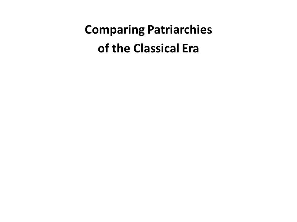 Comparing Patriarchies