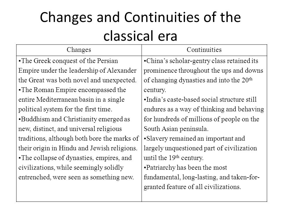 Changes and Continuities of the classical era