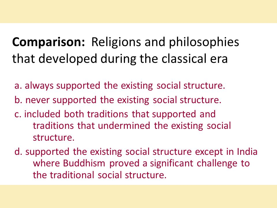 Comparison: Religions and philosophies that developed during the classical era