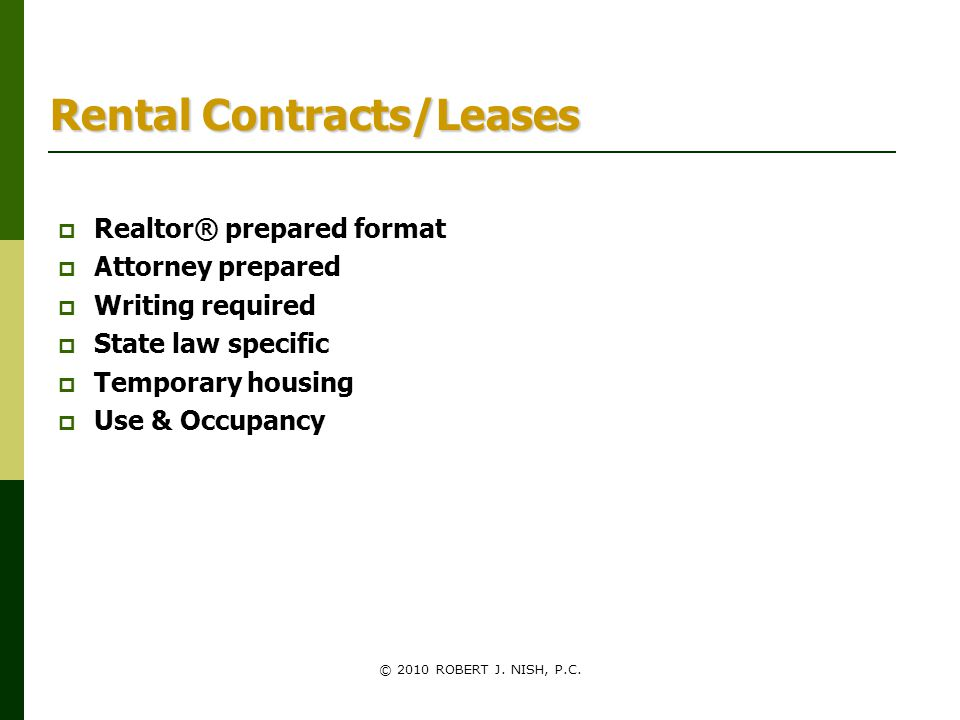 Rental Contracts/Leases