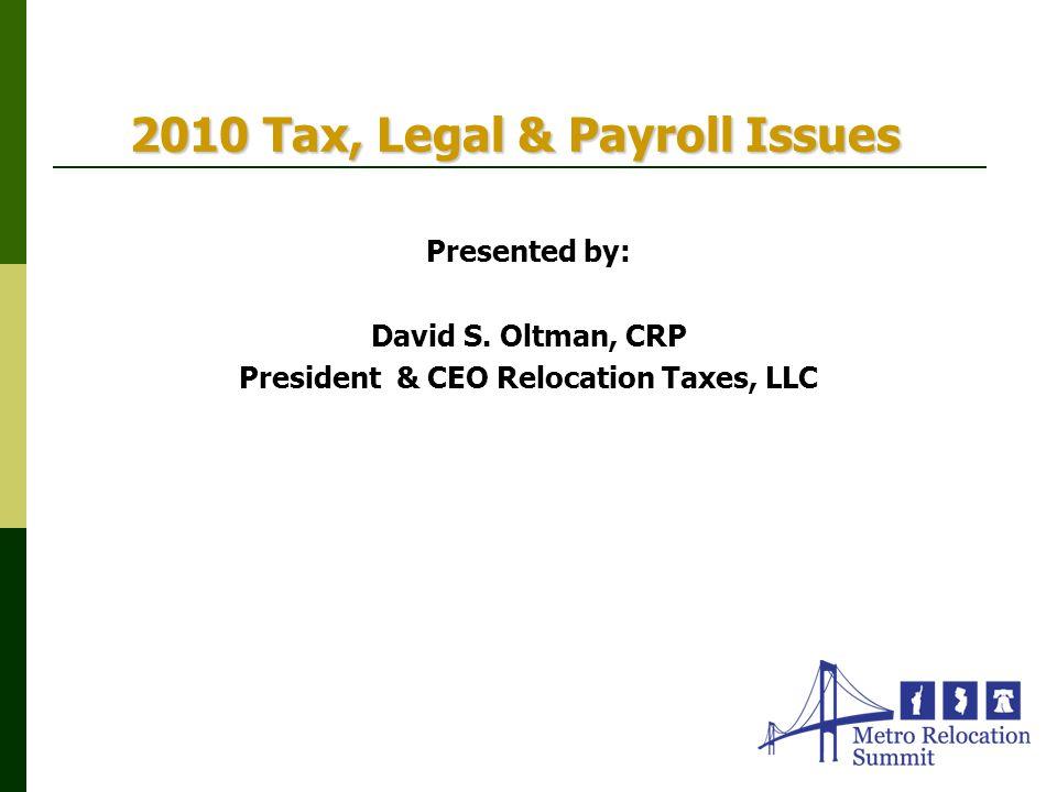 2010 Tax, Legal & Payroll Issues