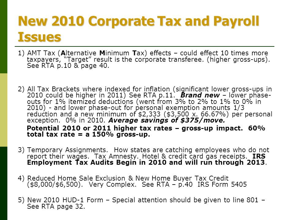 New 2010 Corporate Tax and Payroll Issues