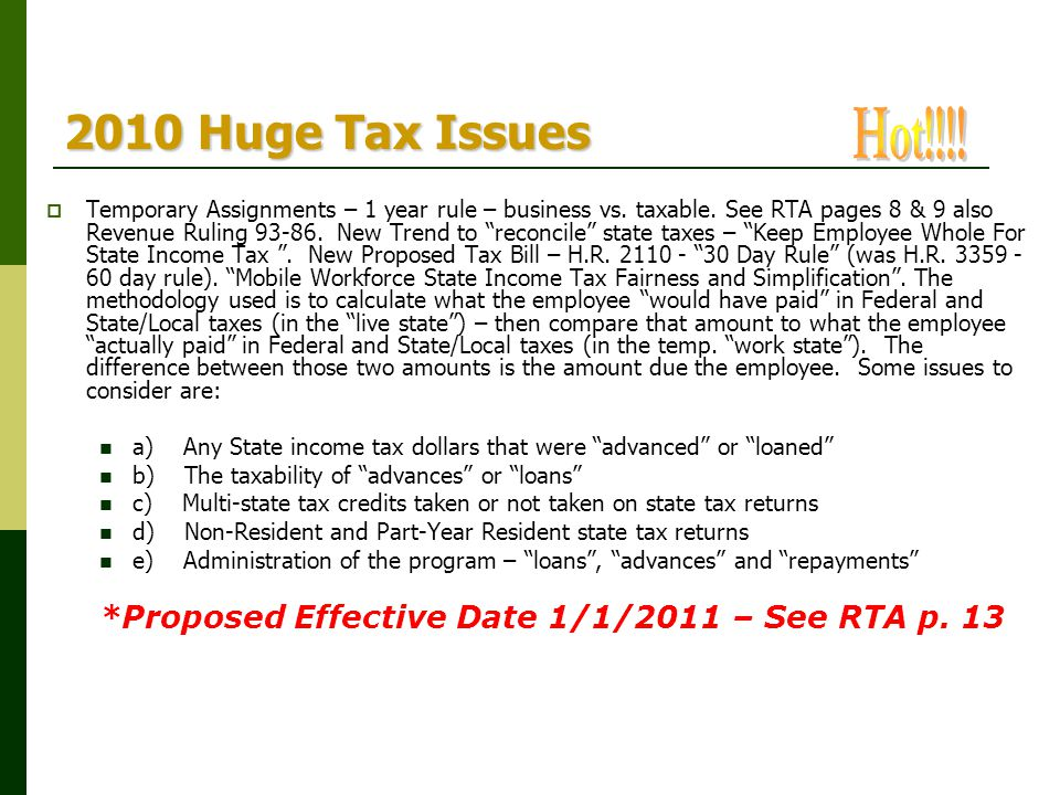 2010 Huge Tax Issues Hot!!!!