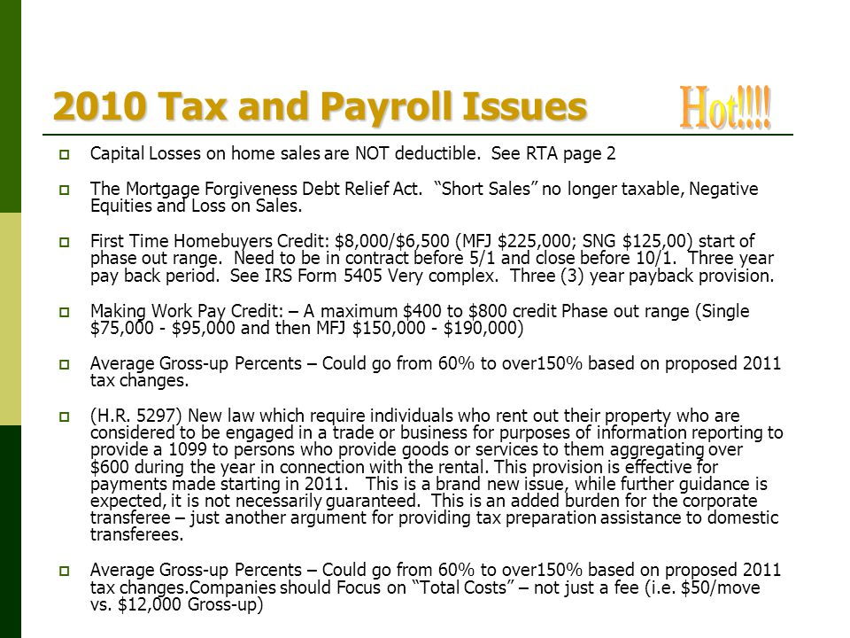 2010 Tax and Payroll Issues Hot!!!!