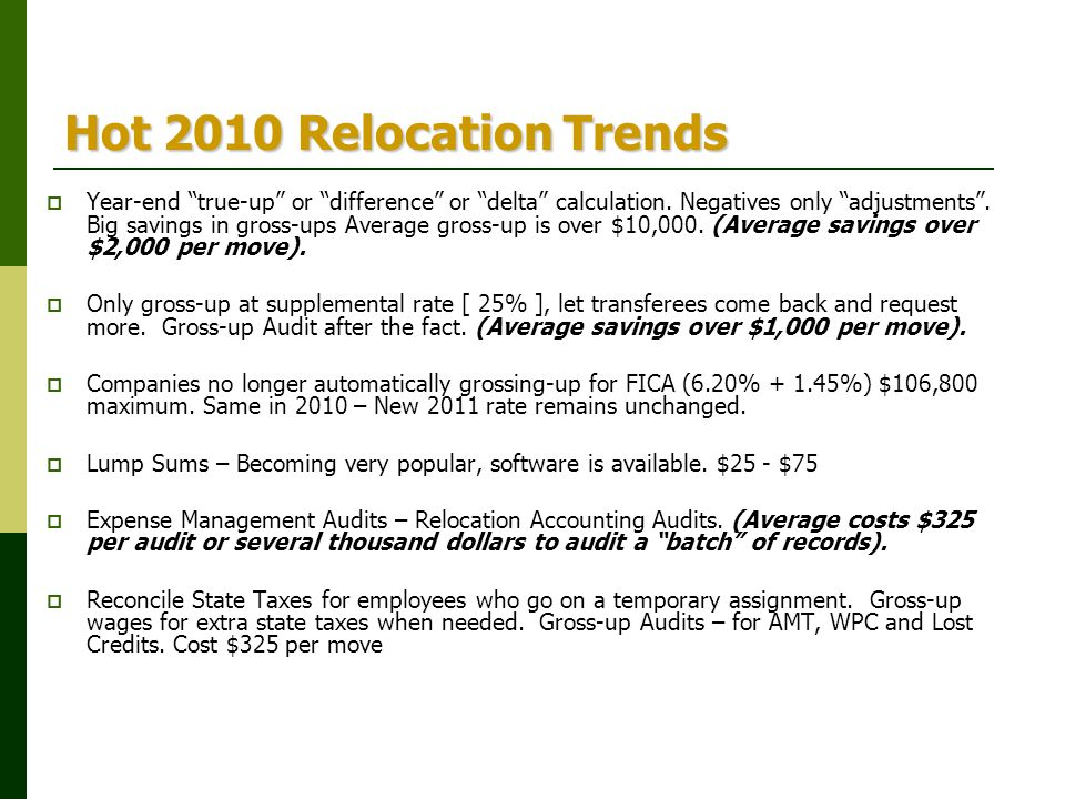 Hot 2010 Relocation Trends
