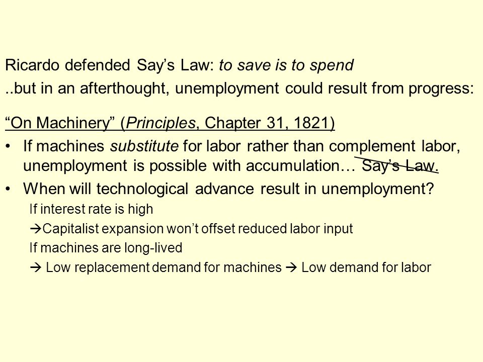 Ricardo defended Say's Law: to save is to spend