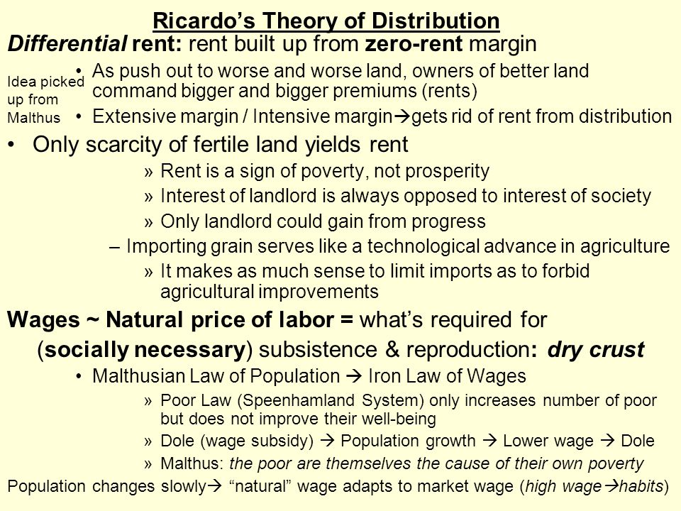 Ricardo's Theory of Distribution