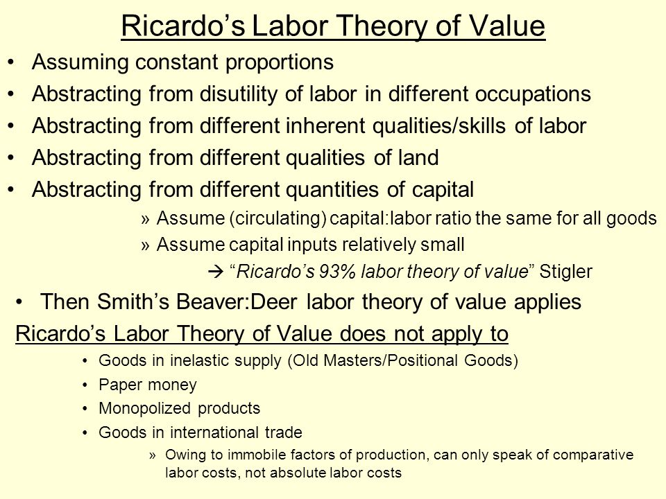Ricardo's Labor Theory of Value