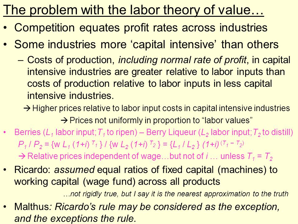 Prices not uniformly in proportion to labor values