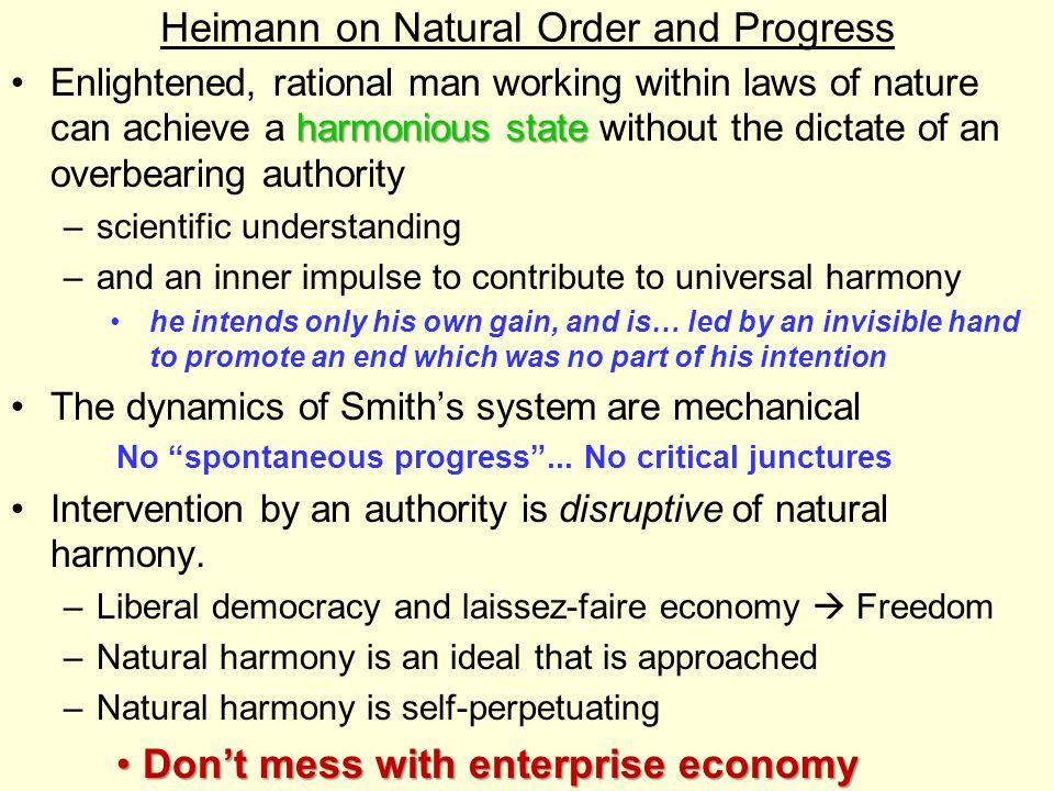 Heimann on Natural Order and Progress
