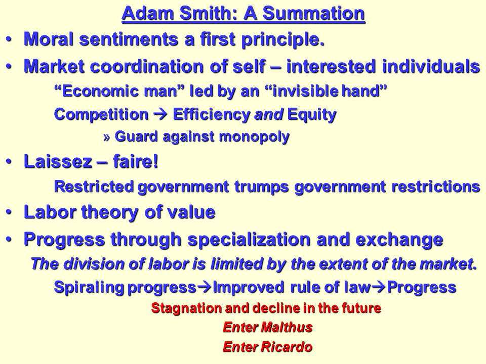 Adam Smith: A Summation