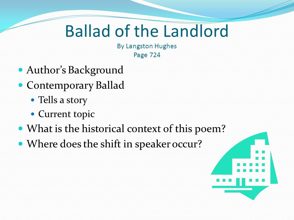Ballad of the Landlord By Langston Hughes Page 724