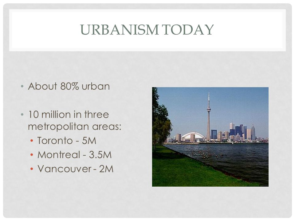 Urbanism Today About 80% urban 10 million in three metropolitan areas: