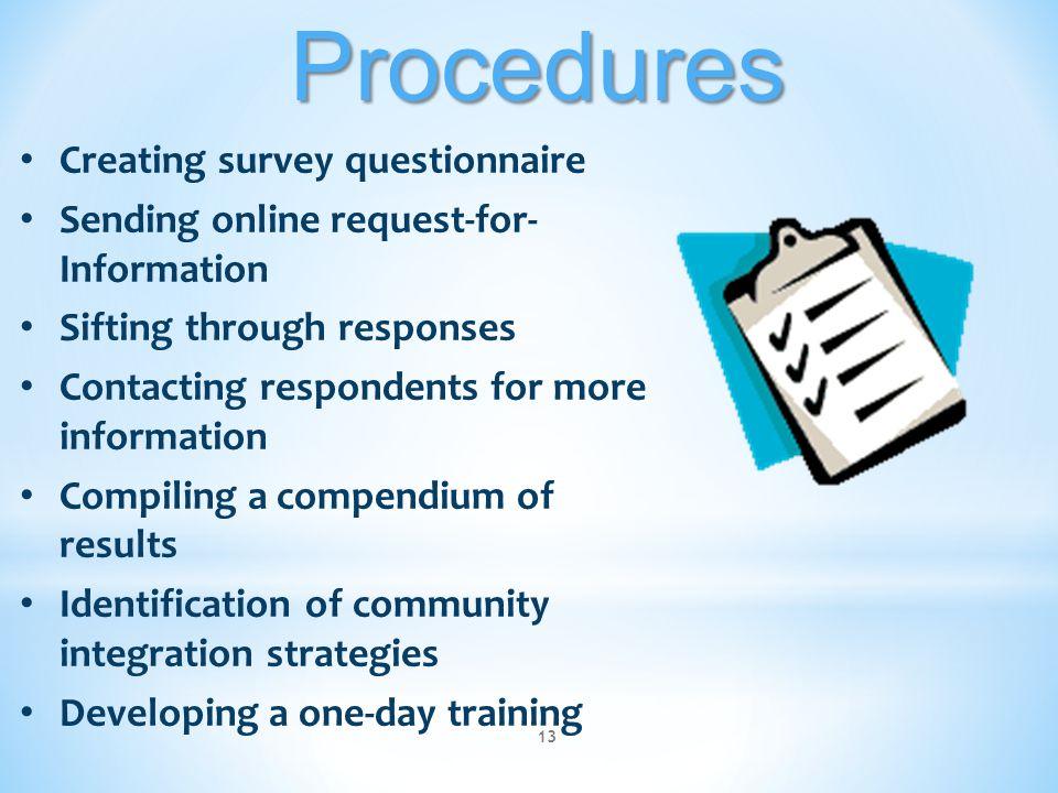 Procedures Creating survey questionnaire