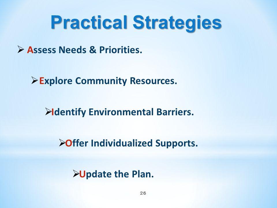 Practical Strategies Assess Needs & Priorities.
