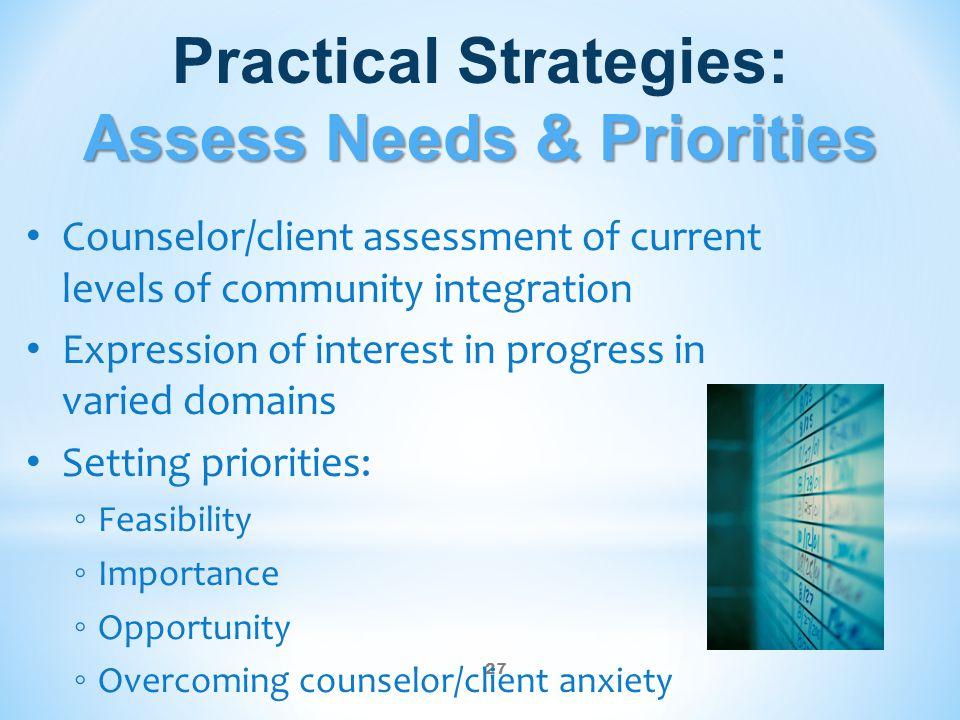 Practical Strategies: Assess Needs & Priorities