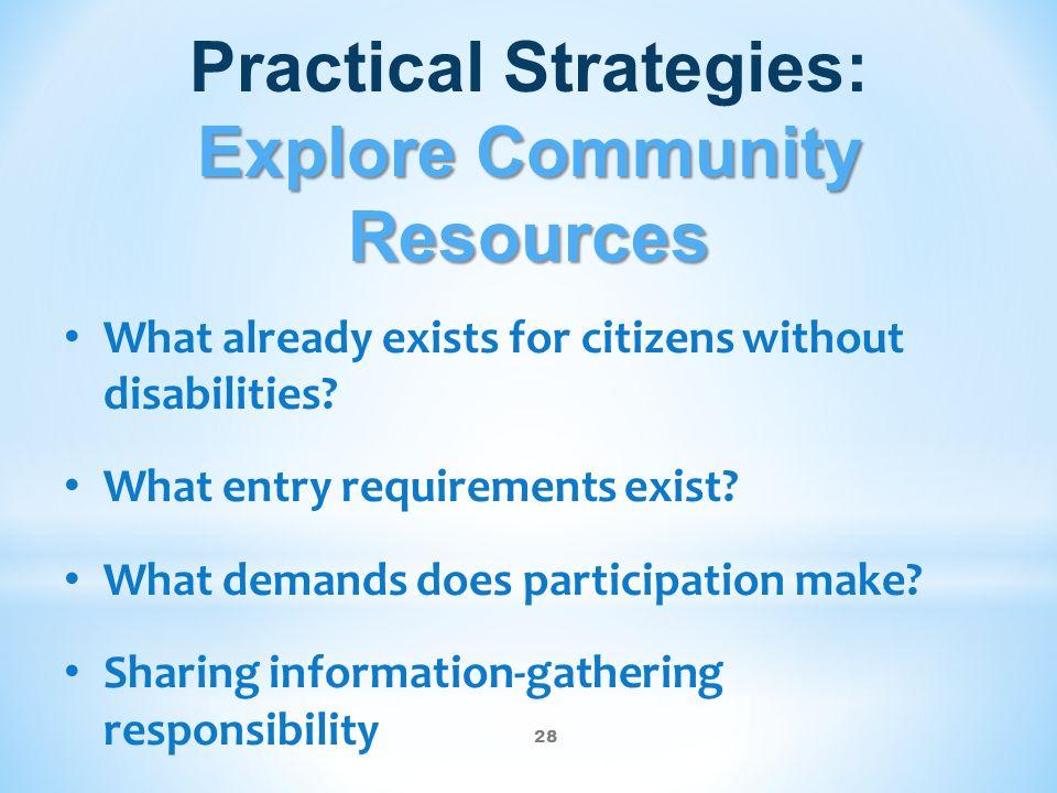 Practical Strategies: Explore Community Resources