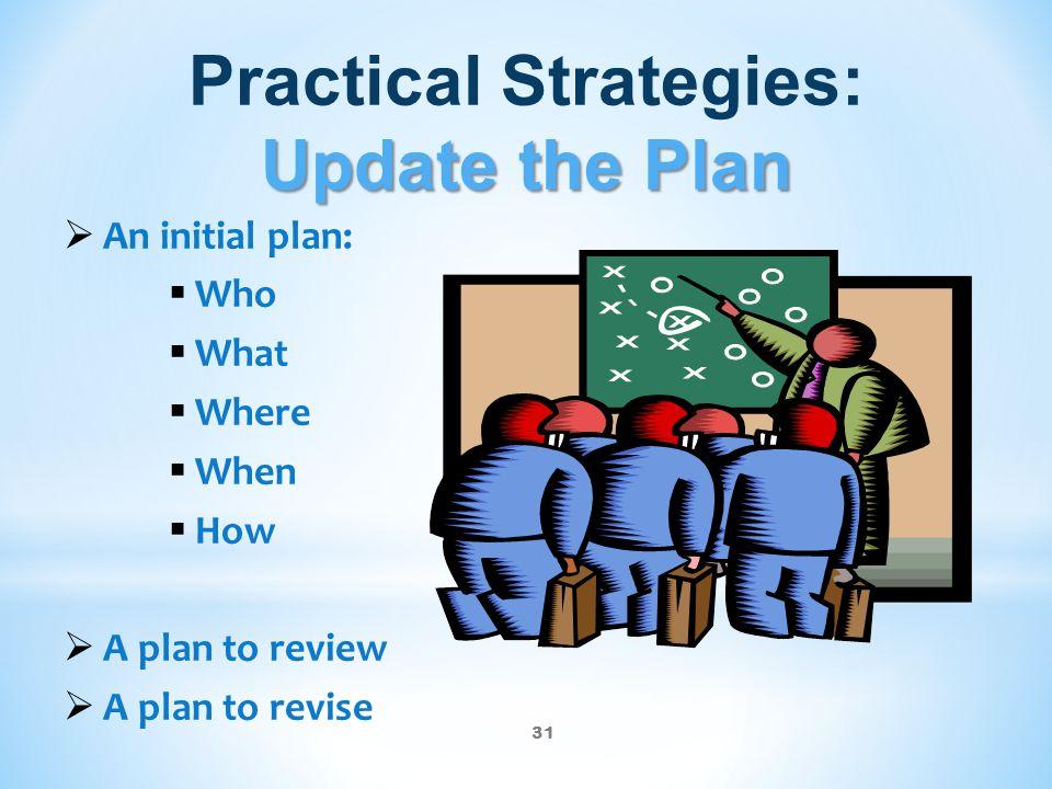 Practical Strategies: Update the Plan