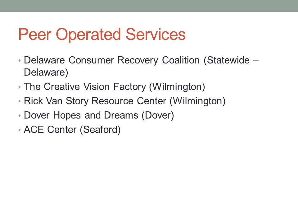 Peer Operated Services