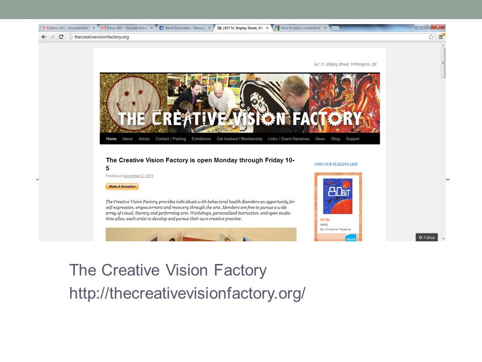 The Creative Vision Factory http://thecreativevisionfactory.org/