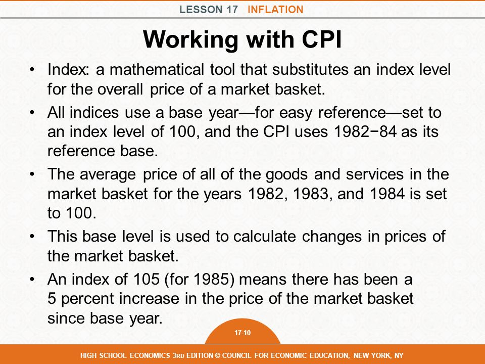 Working with CPI Index: a mathematical tool that substitutes an index level for the overall price of a market basket.