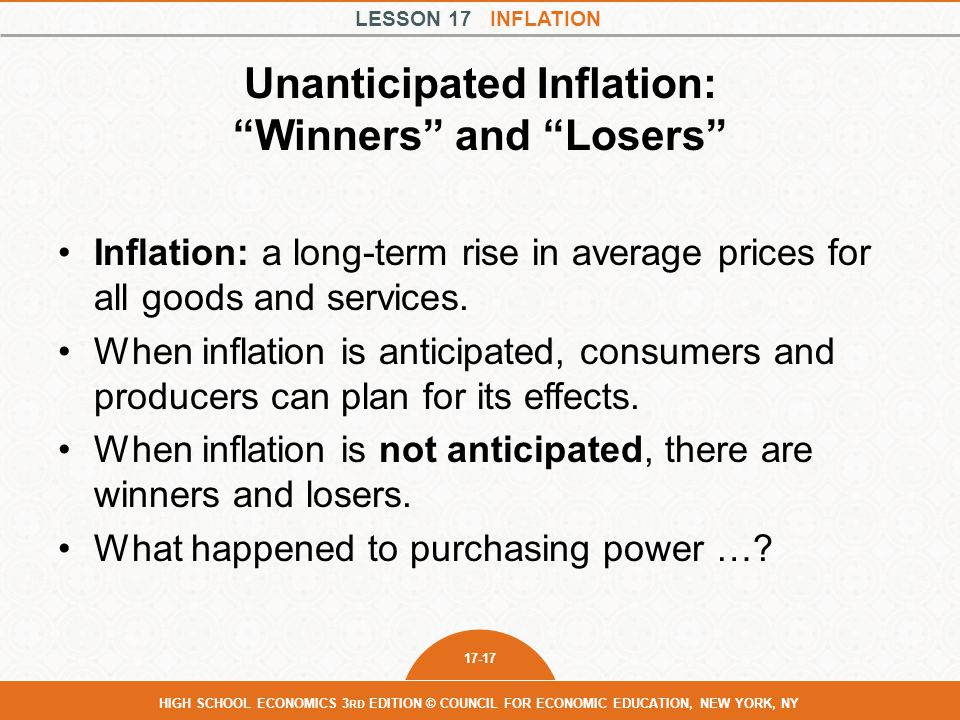 Unanticipated Inflation: Winners and Losers