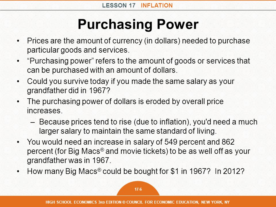 Purchasing Power Prices are the amount of currency (in dollars) needed to purchase particular goods and services.